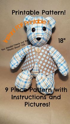 "18"" Memory/Keepsake Bear Teddy Bear Patterns Free, Teddy Bear Sewing Pattern, Pattern Sewing, Sewing Stuffed Animals, Stuffed Animal Patterns, Diy Teddy Bear, Teddy Bears, Animal Sewing Patterns, Doll Patterns"