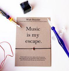 Silver note Music note Bracelet gift card by GraceOfBrace on Etsy
