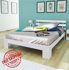 Double White Solid Wooden Bed Strong Frame Comfort Plywood Slats Rustic Bedroom