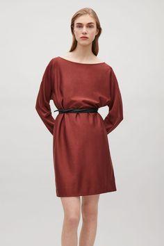 COS image 4 of Oversized wide-neck dress in Orange Dark
