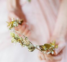 Golden hair wreath for a woodlands bride headband in by beretkah