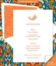 Tory Burch's event menus look so delicious!