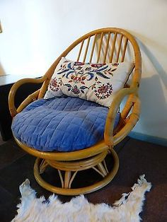 vintage egg cane bamboo swivel chair armchair with cushions