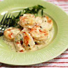 Shrimp with tarragon-yogurt sauce Appetizer (minus the butter)or serve over whole grain pasta