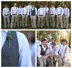 Casual groomsmen with mismatched ties, suspenders. I like the idea of mismatching, but I want everyone to stay in the same colors.