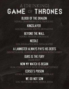 11 Examples of Game of Thrones Food - drinking game of thrones #GoT