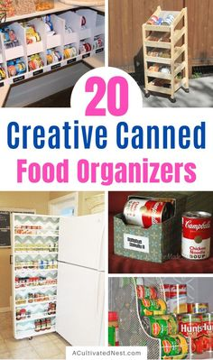 20 Creative Canned Food Organization Ideas- Try out these creative canned food organization ideas and you will be able to store more food! Plus, you'll be able to find what you have easier! Pantry Can Organization, Pantry Inventory, Organisation Hacks, Recipe Organization, Pantry Ideas, Canned Food Storage, Long Term Food Storage, Can Storage, Diy Cans