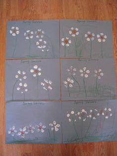 "Simple bottle-print spring daisies ("",)"