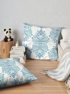 Blue and green fantasy flowers  Floor Pillows