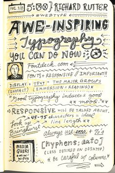 SXSW 2013 Sketchnotes - Awe-Inspiring Typography You Can Do Now - Richard Rutter (1/3)
