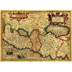 Palestine - (1782) - Panoramic Map (Acrylic Wall Clock), Black (Plastic)