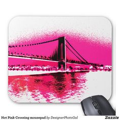 Make your desk your unique space with a new Horizontal mouse pad from Zazzle! Mousepad, Hot Pink, Office Supplies, Make It Yourself, Sunset, Bridge, Design, Pink