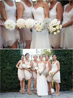 Different Bouquets - Since I'm not going to do real flowers, why not let bridesmaids mix and match materials?