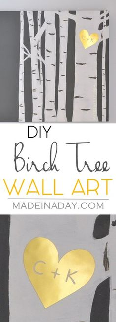 Birch Tree Wall Art, Learn to paint your own birch tree wall art and add a gold sweetheart monogram, gold foil, Silhouette Cameo, tutorial on… art design landspacing to plant Painting Walls Tutorial, Diy Wall Painting, Diy Wall Art, Painted Wall Murals, Knife Painting, Diy Art, Silhouette Cameo, Silhouette Painting, Tree Silhouette