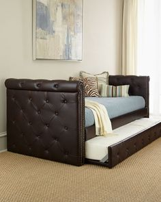 No room for a guest bed? Try a leather daybed with trundle. $999 (reg$1999) #saleendssoon #clicktock