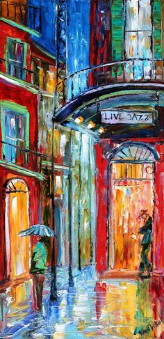 Items similar to Original painting New Orleans French Quarter Jazz in the Rain landscape modern impressionism fine art by Karen Tarlton on Etsy New Orleans Art, New Orleans French Quarter, Jazz Art, Modern Impressionism, Pierre Auguste Renoir, Wow Art, Norman Rockwell, French Art, Oeuvre D'art