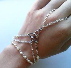 Silver Plate Celtic Slave Bracelet Cream Glass by AzureAllure