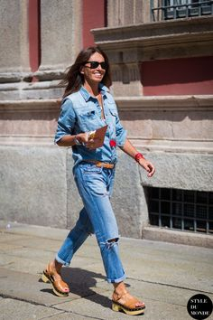 Street Style Summer Denim Inspiration... - Summer Street Style Fashion Looks 2017