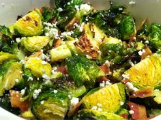 I quartered fresh brussel sprouts, tossed them with extra virgin olive oil, kosher salt and black pepper. Roasted them at 400 degrees for 10-15min, then mixed them with crumbled bacon and blue cheese. My new favorite veggie dish!!