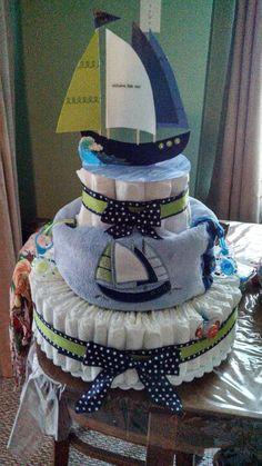 Diaper cake by me.  :o) (Made for Christine)
