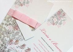 Convite casamento rosa e marrom