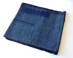 Antique Japanese Indigo Boro Patched Scarf Textile - Mujo.