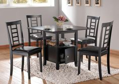 Drew Black Dining Set (Table and 4 Chairs) - Acme Furniture | Dining sets AF-19000/19002/3