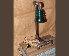 Black Steel Pipe Lamp,Blue Glass Insulator,creative lighting,industrial pipe…