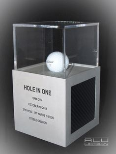HOLE IN ONE trophy cube aluminum carbon fiber insert. Pro Golfer Sam Cyr. Congratulations from your team at ALU DESIGN modern golf