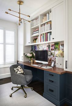 Home Office Space, Home Office Design, Home Office Decor, House Design, Office Ideas, Home Decor, Desk Office, Office Designs, Navy Office