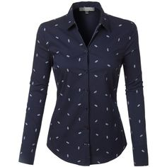 LE3NO Womens Casual Nautical Print Long Sleeve Button Down Shirt ($20) ❤ liked on Polyvore featuring tops, button up shirts, patterned button up shirts, cotton shirts, pattern long sleeve shirt and long sleeve tops
