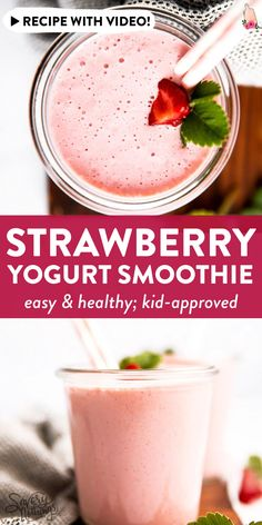 Easy smoothie made with yogurt, milk and strawberries. Instructions for fresh or frozen berries included. Frozen Strawberry Smoothie, Fresh Strawberry Recipes, Strawberry Drinks, Smoothie Recipes With Yogurt, Smoothie Recipes For Kids, Yogurt Smoothies, Easy Smoothies, Frozen Strawberries, Freezer Smoothies