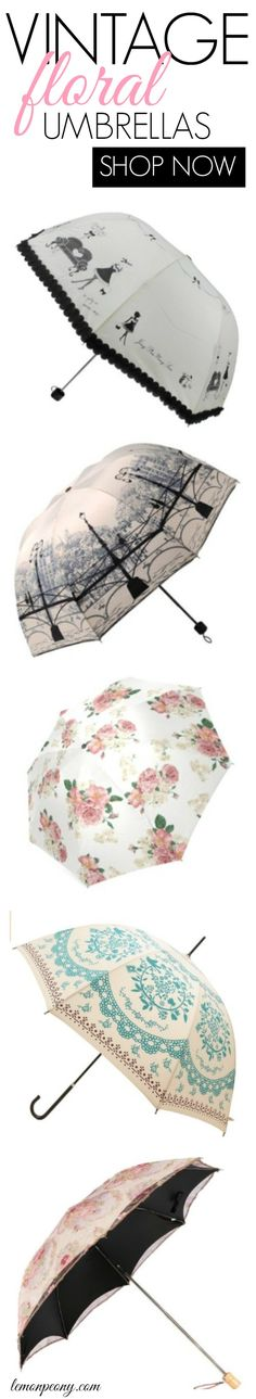 Vintage Floral Umbrellas! Cute and fun umbrellas for rainy days!