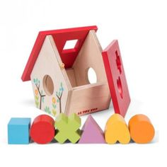 A gorgeous red roof wooden home with matching wooden shapes to help teach children how to sort shapes and work on their fine motor skills. Comes with 6 assorted shapes. A fantastic fine motor skill toy that can help introduce shapes.   #sorter #woodentoys #educational #shapesorter #babyshop #babygift #learnthroughplay #play #learn #teach #create #designerkids #designerbaby #littlebooteekau
