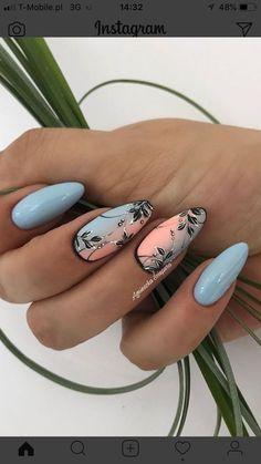 Nails for summer (notitle) Summer Acrylic Nails, Best Acrylic Nails, Acrylic Nail Designs, Nail Art Designs, Spring Nails, Summer Nails, Nagel Bling, Feather Nails, Natural Nail Designs