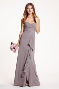 Watters 5518 Chiffon Bridesmaid Gown with Ruffle- Strapless sweetheart neckline long Crinkle Chiffon bridesmaid dress has draped bodice and waist, slim A-line floor length skirt. Cascading ruffle from waist to hem opens to a left front slit in the skirt.