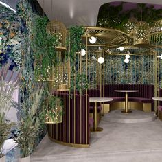 FormRoom has completed an interior brand identity for London café, Feya which draws on a fantastical, enchanted forest and invites exploration. Bar Interior Design, Restaurant Interior Design, Commercial Interior Design, Cafe Interior, Cafe Design, Commercial Interiors, Deco Restaurant, Luxury Restaurant, Botanical Interior