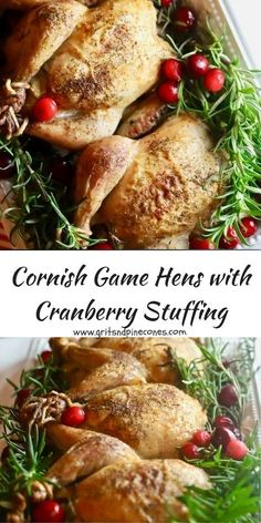 Roasted Cornish Game Hens with Cranberry Stuffing is a delicious, elegant, and inexpensive main course for your Christmas dinner or a special dinner party!  via @gritspinecones