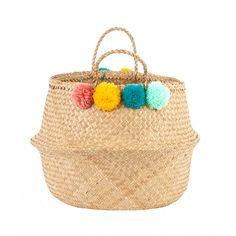 Pom Pom Basket - Teal, Pink, Yellow & Mint