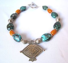 Turquoise stones Tibetan Amber Ethnic necklace Tribal necklace
