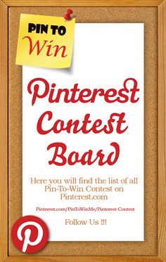 This board is all about sharing new Pinterest contests and archiving the old ones. Here you will find the list of all Pin-To-Win Contest we come across while surfing Pinterest.com  #Pinterest #Contest #PinToWin