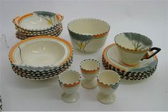A fine quality and extensive Art Deco Burleigh ware part dinner service, in the orange colourway