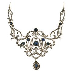 Belle Epoque Sapphire Diamond Necklace provenance Fyodor Chaliapin. Circa 1870-80s  This fabulous Belle Epoque necklace features 15 carats of rosecut diamonds and 10-12 carats of sapphires set in 18k gold and silver over 18k. Once gracing the neck of Iola Chaliapin, wife of Russian folk hero and opera singer Fyodor Chaliapin.