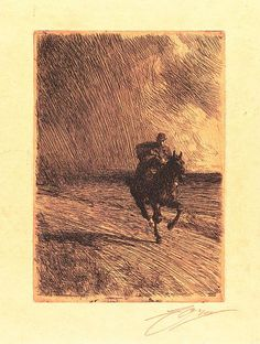 The Storm, 1891, etching by Anders Zorn, Swedish, 1860-1920.