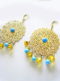 Mexican amber and turquoise gold filigree chandelier earrings