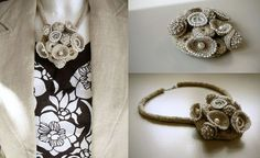 Crochet linen necklace with brooch-pendant | Flickr - Photo Sharing!