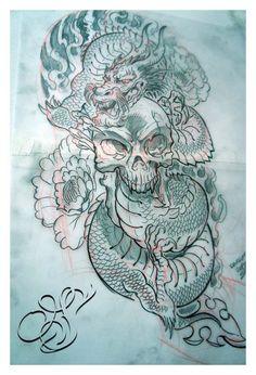 Tattoo design_Skull with Dragon by DOUGLASDRACO on DeviantArt