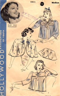 40s Bed Jackets Hollywood 1911 Vintage Sewing Pattern Ellen Drew Paramount