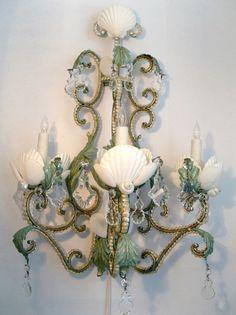 Evening Pearl Wall Sconce - by Marjorie Stafford Design Antique Lighting, Sconce Lighting, Cool Lighting, Seaside Decor, Coastal Decor, Chandelier Lamp, Chandeliers, Nautical Chandelier, Seashell Chandelier