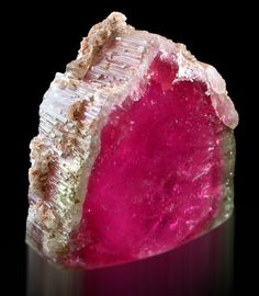 Wow that is a saturated color. Elbaite var. Watermelon Tourmaline from Stewart mine, San Diego county, USA.